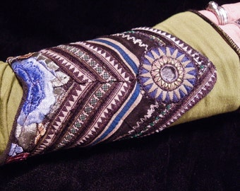 Cuff Blue Black Hmong Indian Embroidery Gypsy Peace Cuff Boho Hippie Gypsy Fabric Bracelet