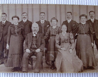 Antique Photo Postcard - Large Family