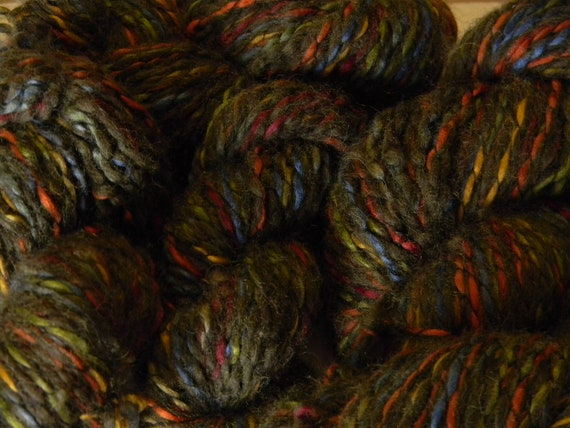 Recycled Yarn Enchanted Forest Multicolored Wool Blend  -  Bulky Weight  - 95 yards -- Lot 240