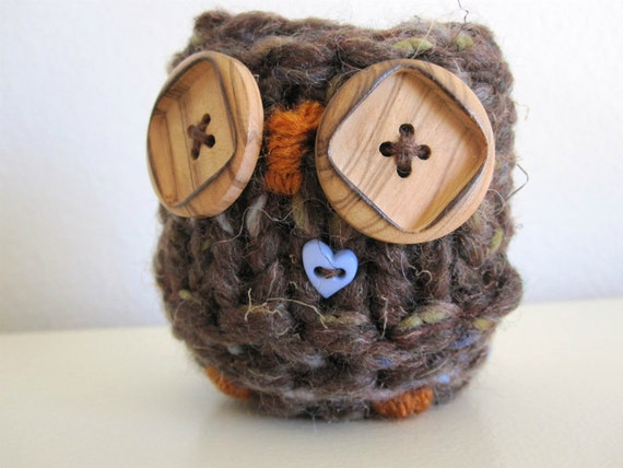 Hand Knit Love Owl