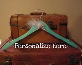 custom Tiffany's Blue BRIDAL hanger with wire wording for WEDDING DRESS