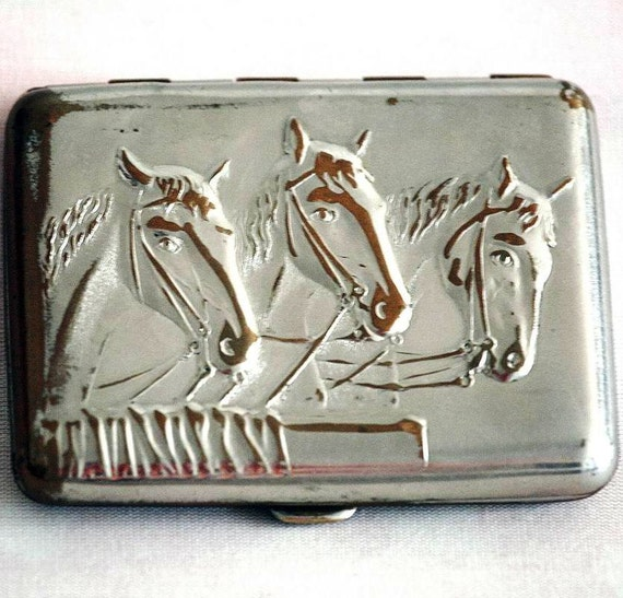 Vintage Cigarette Case / Business Card Holder / Metal Wallet - Equestrian / Horse Head / Horses - from Russia / Soviet Union