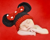 Minnie Mouse Hat  / Baby Minnie Mouse Hat /  Baby Girl Mouse Ears / Minnie Mouse Beanie / Minnie Mouse Hat with Polka Dotted Bow