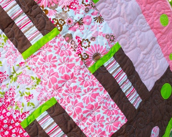 Baby Quilt - Handmade - Baby Girl, Pink, Floral, Stripes, Dots - Crib Quilt - Toddler Playmat - Modern