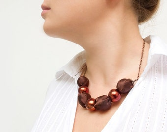 Brown fabric beads necklace textile necklace