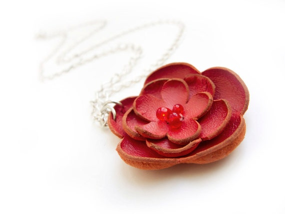 Red leather flower pendant