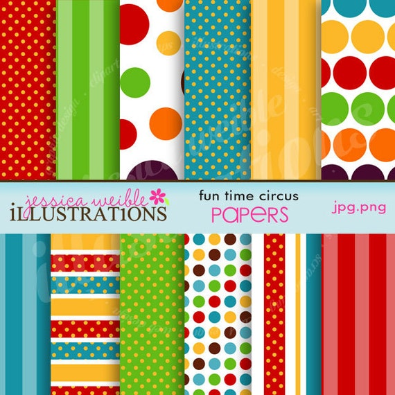 Fun Time Circus Cute Digital Papers for Card Design, Scrapbooking, and Web Design