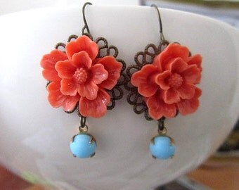 Coal red sakura cherry blossom with skyblue dangle earring