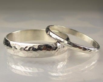 Palladium Sterling Wedding Band Set