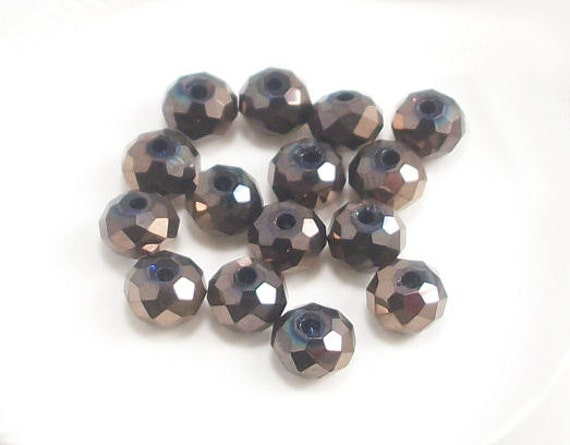 4x6mm Metallic Chocolate Faceted Crystal Rondelle Beads (25)