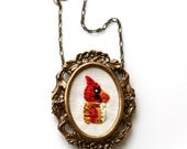 Mr. Cardinal- hand embroidered necklace