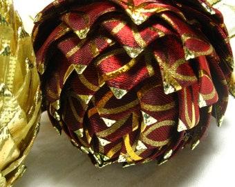 Unique Keepsake Christmas ornaments, rich burgandy and gold