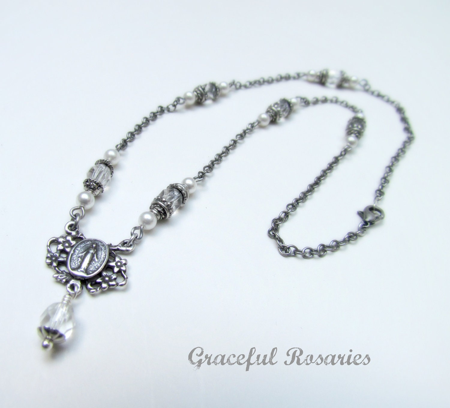 catholic jewelry rosary necklace with sterling by