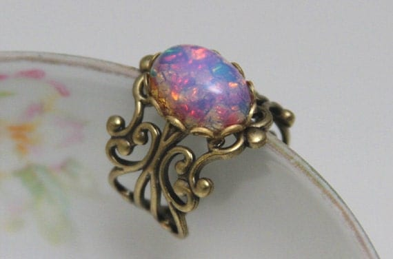Etsy Adjustable White Fire Opal Ring S
