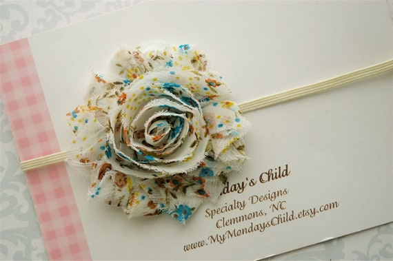 Shabby Chic Headband in Soft Floral - Baby Headband, Newborn Headband, Baby Girl Headband, Girls Headbands