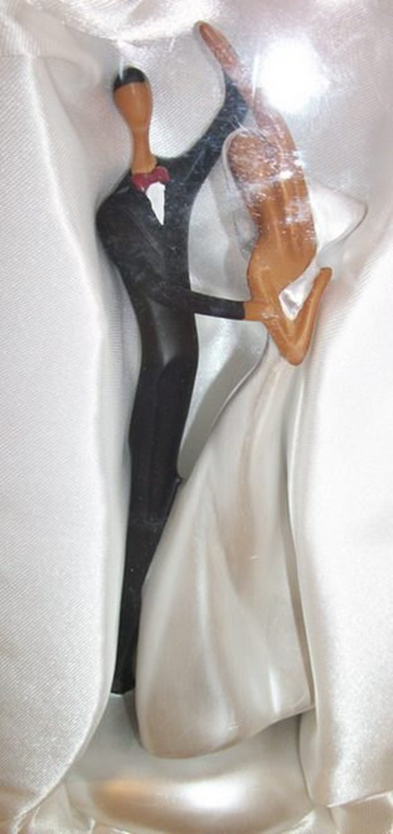 African-American  Vintage Art Deco style Wedding Cake Topper