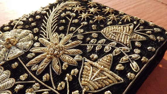 Vintage 30s CLUTCH fine embroidery