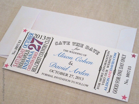 Vintage Ticket - Save the Date