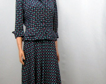 1940 Midnight Blue Rayon Dress with Matching Jacket I Tiny Pink Butterflies