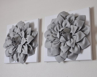 "TWO Wall Flowers -Gray Dahlia on White- 12 x12"" Canvas Wall Art- Baby Nursery Wall Decor-"