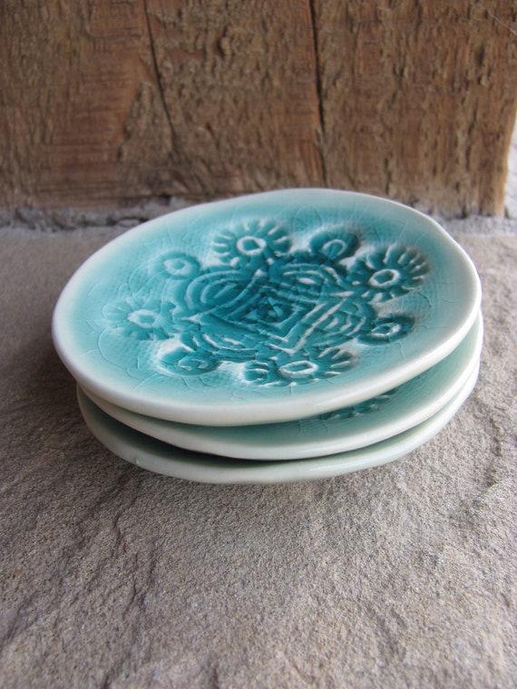 Porcelain Ceramic Starburst Dish Glazed in Aqua Blue Green Home Decor, Handmade by Licia Lucas Pfadt