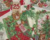 Joy of Christmas Cat I Spy Cats Glitter Fabric By the Yard OOP