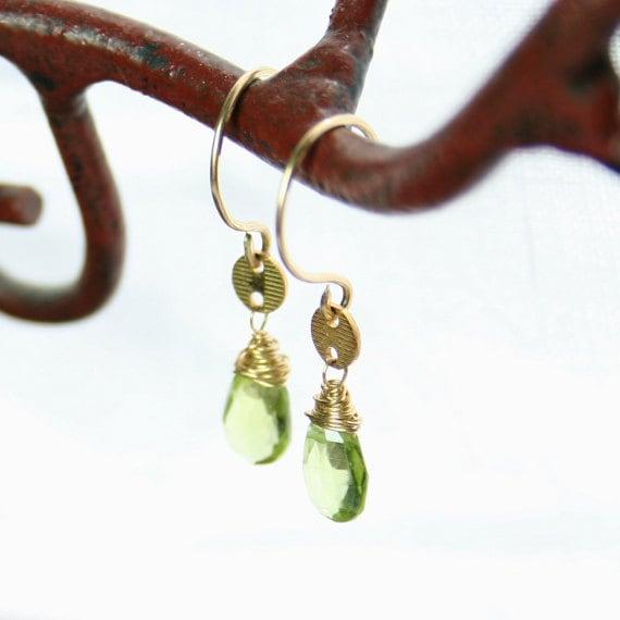 Peridot Gold Wire Wrapped Earrings Handmade OOAK August Birthstone