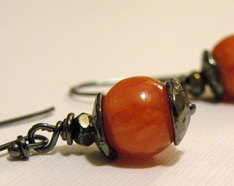 Farrah  -  Quartzite Blackened Oxidized Sterling Silver Earrings   Earthy Rustic Warm Rich