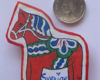 Handcrafted SwedIsh DALA HORSE MAGNET Papier Mache