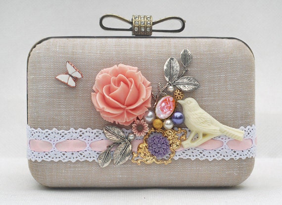 Flower Bird Fairy Clutch Chain Bag Pink Beige White Khaki Cotton Linen Butterfly Wedding Brides Bridemaids Prom Handbag Bridal Dressing Case