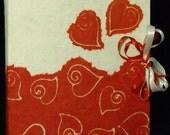 Red hearts photo album  batik paper wedding or boyfriends Valentine Day anniversary gift scrapbook guest book made in Italy