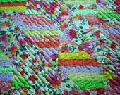 "Robert  Kaufman-Fiori Tropical-Patchwork Quilt- Handmade Quilt-Bed Quilt-55"" X 66""-Made in USA by MJ Quilts-Free Shipping in United States"