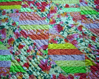 """Robert  Kaufman-Fiori Tropical-Patchwork Quilt- Handmade Quilt-Bed Quilt-55"""" X 66""""-Made in USA by MJ Quilts-Free Shipping in United States"""