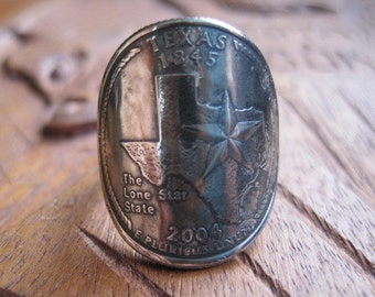 Wraparound Texas State Quarter Ring with Sterling Silver Band MADE TO ORDER.