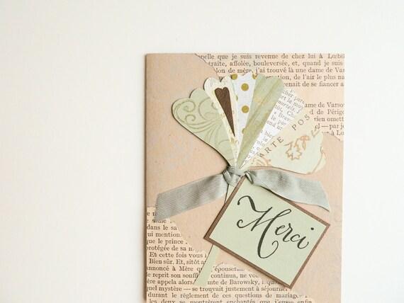 Handmade Thank You Card - Merci, French, Ginkgo Leaf, OOAK, sage green, tan, vintage text - nouveau nancy - newnanc