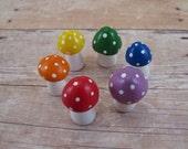 Toadstool Terrarium Decor - Rainbow Mushroom Figurines - Fairy Garden Party Favor - Made to Order