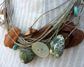 Artistic Handmade Avocado Seed with Shell Linen Necklace with blue turquoise drops Boho Style