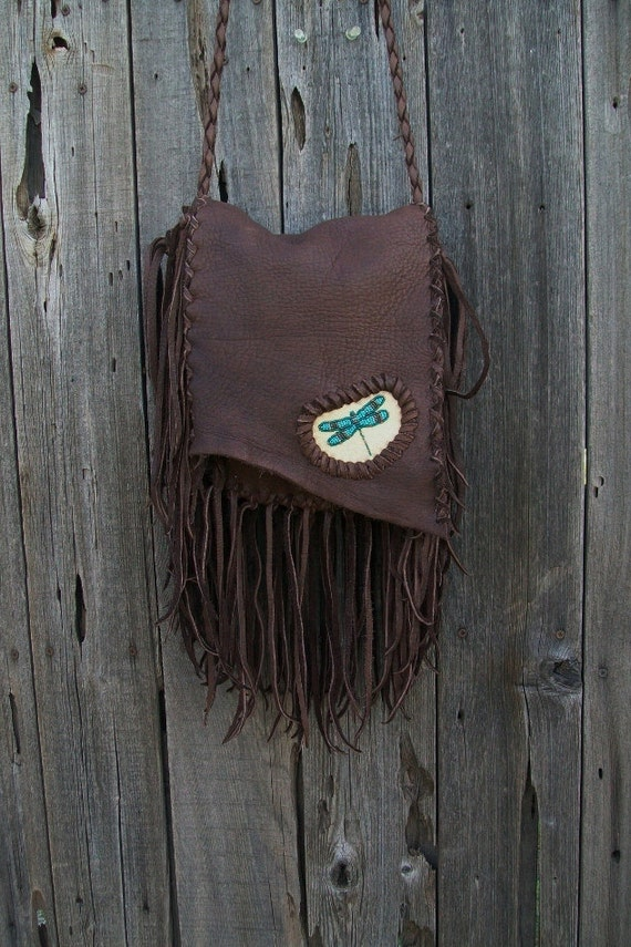 Buckskin leather purse   Beaded dragonfly bag  Fringed crossbody bag  Bohemian cross body purse