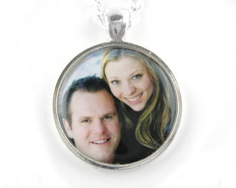 Custom Photo Necklace Pendant - Personalized Photo Jewelry - Long Bronze or Sterling Silver Necklace Pendant