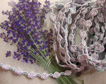 "10 yards 3/8"" width lilac and apple green roses braid trim"