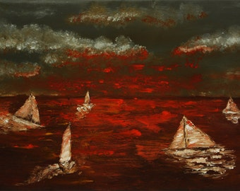 Sailing abstract knife by Paul Juszkieiwcz black red orange gray