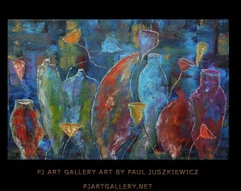 Bottles abstract knife by Paul Juszkieiwcz black red blue