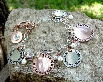 Mother/Grandmother Hand Stamped Charm Bracelet