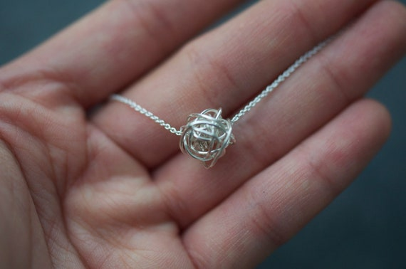 Adjustable Knot on Chain silver necklace, dainty necklace, everyday necklace, adjustable necklace