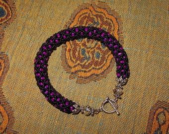 Magenta Seed Bead Bracelet