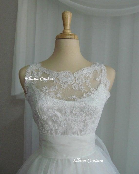 Sandra - Beautiful Vintage Inspired Tea Length Wedding Dress. READY TO SHIP.
