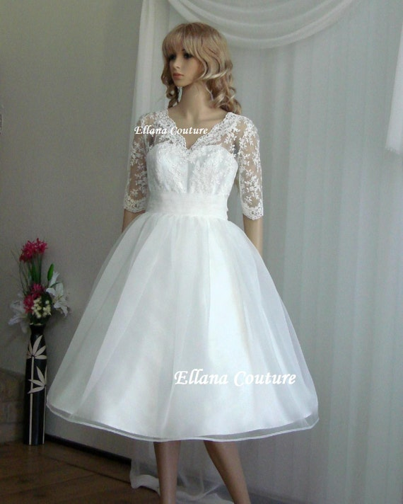 Ariel tea length wedding dress vintage inspired design for Etsy tea length wedding dress
