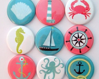 Magnets - Nautical - Set of Nine 1.25 Inch Button Magnets Packaged in a Custom Box