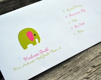 Personalized School Money Envelope for Money and Notes-Elephant Design