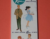 1961 Ken Doll Box Early Stock No. 750 Barbie's Boyfriend He's A Doll Mattel with STAND